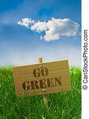 Pon un texto verde escrito en una tabla de cartón del cielo azul
