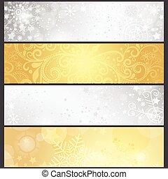 Poned banderas de invierno plateadas y doradas