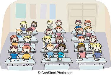 Poner a los niños en una clase de escritura