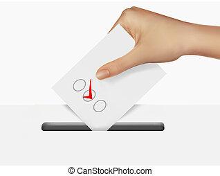 poniendo, votación, papeleta, mano