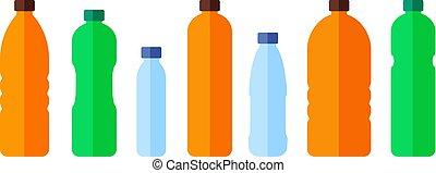 Ponle agua a las botellas de color. Vector icono plano.
