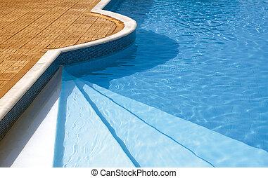 pool., luz del sol, agua, pasos, debajo, ondulado, natación