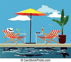 poolside, relajar, lugar