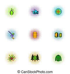 pop-art, conjunto, estilo, iconos, paintball