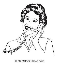 Popart comic retro mujer hablando por teléfono