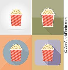 Popcorn cine plano iconos vector de ilustración