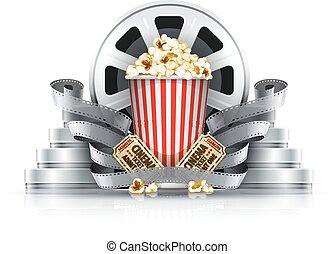 Popcorn film-strips y discos con entradas de cine para el cine
