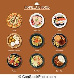 popular, alimento, conjunto