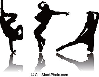 popular, bailarín, silueta