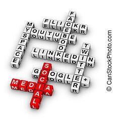 popular, más, establecimiento de una red, sitios, social