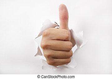 por, arriba, papel, pulgar, interrupción, mano, blanco