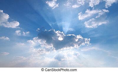 por, celeste, rayo de sol, neblina