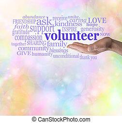 por favor, voluntario, plano de fondo, bokeh