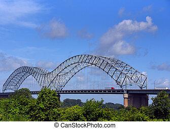 por, interestatal, puente, lleva, 40, memphis