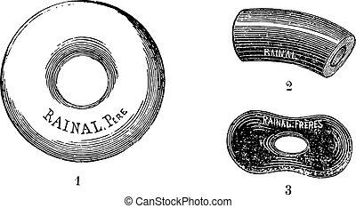 Porcelana pesaria, grabado antiguo.