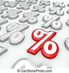 porcentaje, -, símbolos, tasa, crecimiento, interés, porcentaje, o, mejor