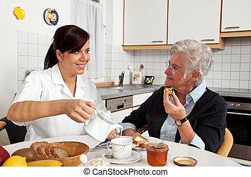 porción, 3º edad, desayuno, enfermera, ciudadano