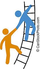 porción, escalera, ensamblar, arriba, gente
