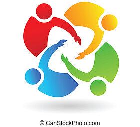porción, logotipo, trabajo en equipo, 4 personas