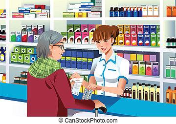 porción, persona, farmacéutico, anciano