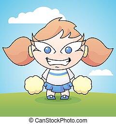 Porrista de dibujos animados con pompones