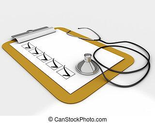 portapapeles, lista de verificación, mensajes médicos, papel, estetoscopio