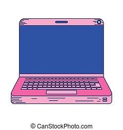 portatil, rosa, aislado