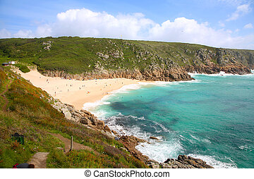 porthcurno, uk., verano, playa, cornwall