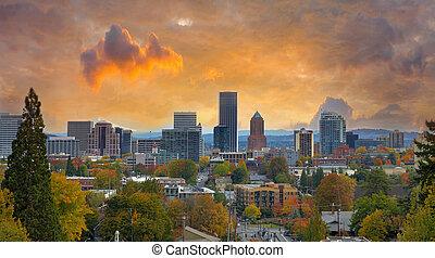 Portland Cityscape en otoño