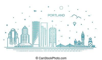 portland, contorno, ilustración, oregón, vector, línea