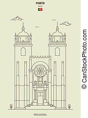 porto, señal, portugal., icono, catedral