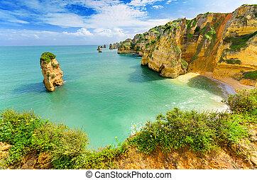(portugal), idílico, lagos, algarve, playa, paisaje