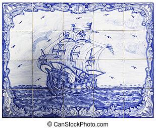 portugués, azulejos, antiguo, barco