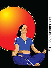 Posa de Yoga, póster del vector