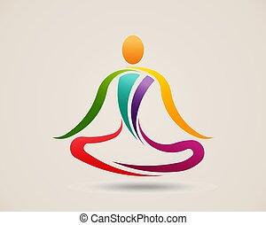 Pose de meditación yoga. Ilustración de vectores de logo