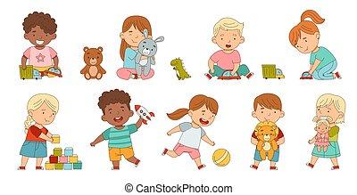 poseer, diferente, teniendo, niños, el gozar, diversión, su, juego, conjunto, vector, lindo, niñez, juguetes