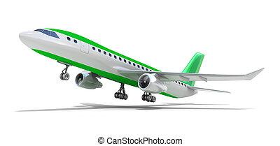 poseer, encima, diseño, white., avión, mi