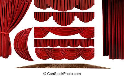poseer, teatro, crear, elementos, plano de fondo, su, etapa