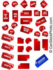 poseer, texto, etiquetas, pegajoso, su, design., perfecto, tela, cualesquiera, fácil, mercadotecnia, retro., size., grande, precio, colección, corregir, 2.0, agua, grunge, advertisement., vector