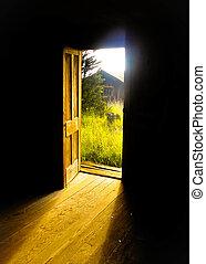 Posibilidades, puerta abierta, luz