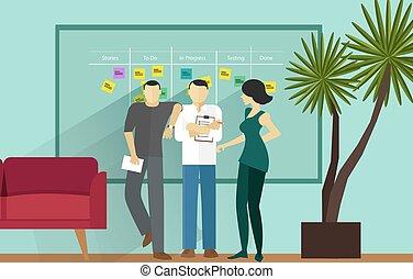 posición, ágil, melé, metodología, reunión, software