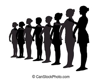 posición, bailarines ballet, fila