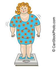 posición, balanzas., mujer, vestido, grasa