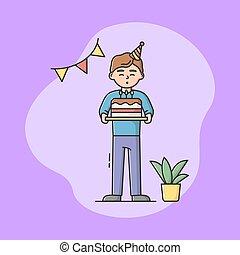 posición, celebración, style., concept., afuera, niño, ilustración, soplar, pastel, caricatura, lineal, fiesta, vector, contorno, feliz, celebrar, plano, niño, cumpleaños, niños, holiday., candles.