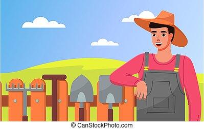 posición, cerca, palas, jardinero, herramientas, primer plano, rastrillos, jardín, sombrero, joven, tools.