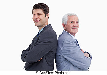 posición, cierre, el suyo, arriba, espalda, hombre de negocios, mentor
