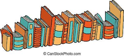 posición, diferente, /, libros, biblioteca, pila