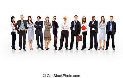 posición, empresa / negocio, encima, formado, joven, hombres de negocios, plano de fondo, equipo, blanco