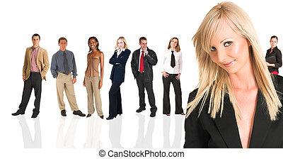 posición, empresarios, mujer de negocios, frente, rubio, grou