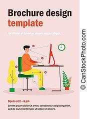 posición, escritorio, plano, sentado, correcto, vector, ilustración, hombre
